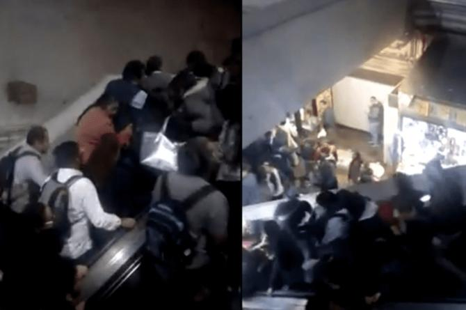 Escaleras en la CDMX causan impactante carambola #VIDEO