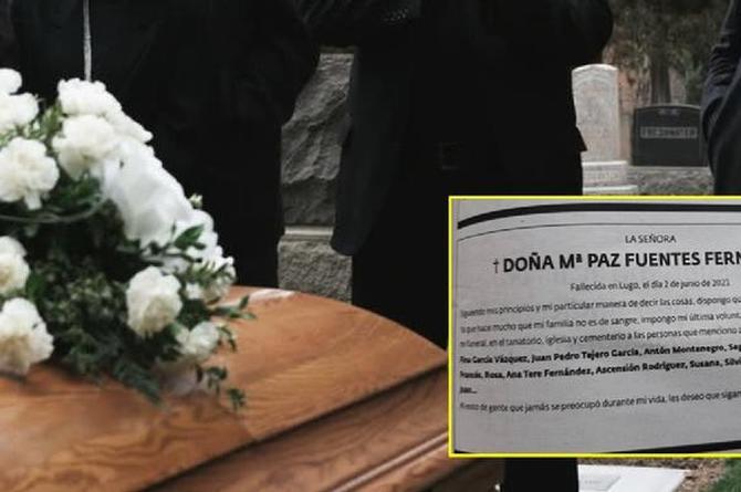 Mujer dejó en claro a quiénes no quería en su funeral