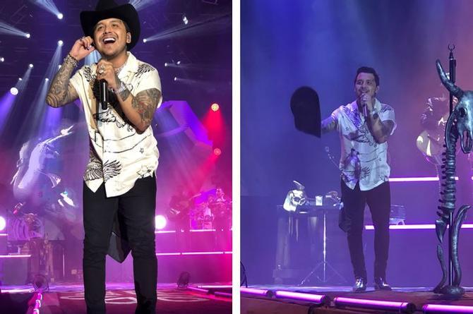 Christian Nodal canta en Veracruz; suspenden concierto por unos minutos (+fotos/videos)
